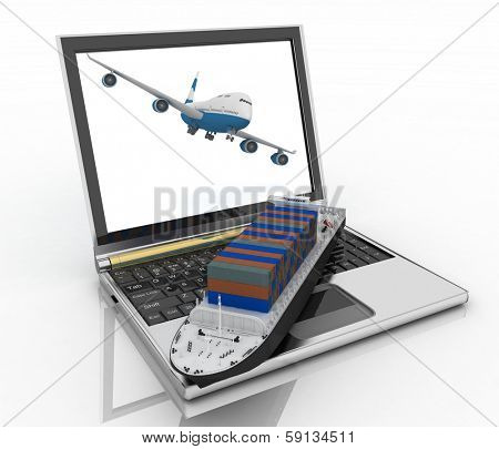 Concept of logistics. Shipping and transportation by air and water-carriage. 3d render illustration