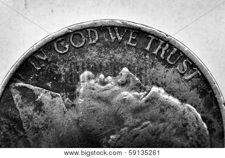 Coin of Silver American Money with words In God We Trust