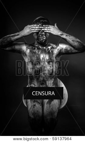 concept of censorship, blindfolded man covering his eyes, mouth and ears
