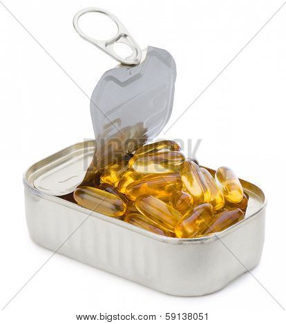 Fish oil capsules in fish can isolated on white background