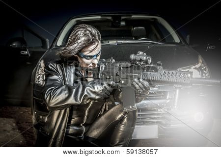 Dangerous woman dressed in black latex, armed with gun. comic style