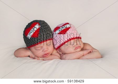 Newborn Baby Twins In Love Mom And Dad Hats