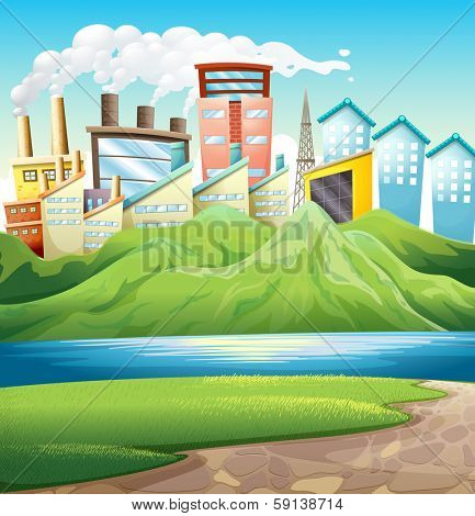 Illustration of the green mountains near the river and the buildings