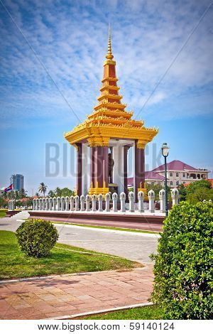 Statue of King Father Norodom Sihanouk  in Phnom Penh, Cambodia.