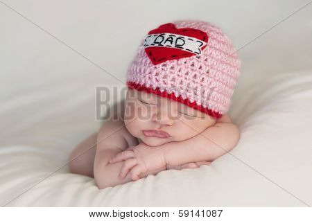 Newborn Baby Girl Wearing A
