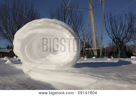 Snowrollers are a rare phenomena of nature that occurs when there is the right combination of snow, ice and wind