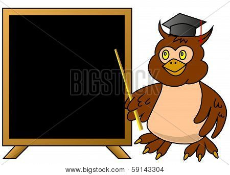 Wise owl teacher with blackboard