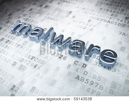 Safety concept: Silver Malware on digital background