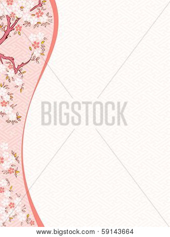 Delicate spring cherry blossom template