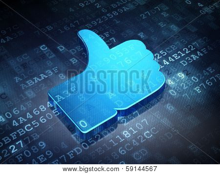 Social network concept: Blue Thumb Up on digital background