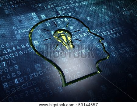 Data concept: Head With Lightbulb on digital screen background