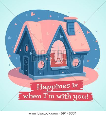 Loving couple at home. Valentine's Day Card. Vector illustration.