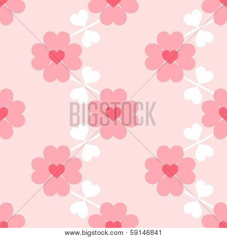 Heart Flower Soft Seamless Pattern