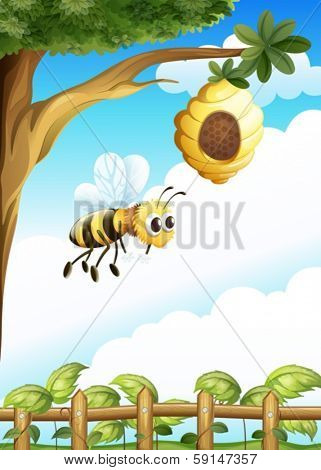 Illustration of a tree near the fence with a beehive and a bee