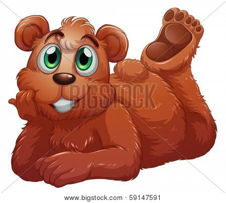 Illustration of a smiling bear on a white background