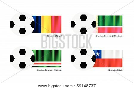 Soccer Ball With Chad, Chechen Republic, Ichkeria And Chile Flag