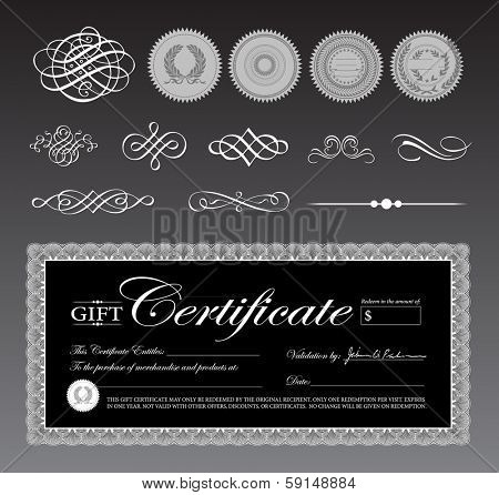 Vector black gift certificate and ornament set. Great for diplomas, certificates, and awards.