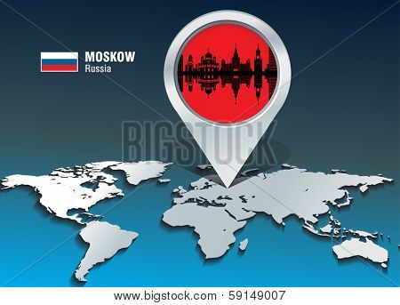 Map pin with Moskow skyline - vector illustration