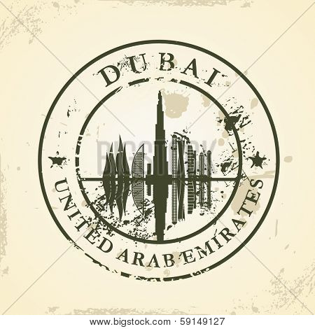 Grunge rubber stamp with Dubai, UAE - vector illustration