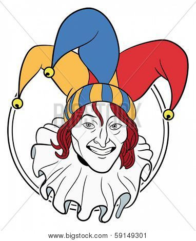 Jester face in a circle