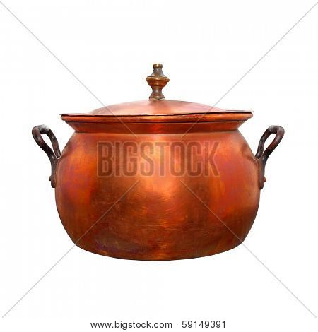 Bronze pot. Traditional handmade product of European Gypsies (kettlesmith craft) from 19th century.