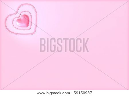 Pink Valentines Day Heart Wide