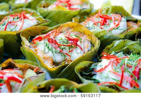 hor mok, thai food, steamed fish curry custard in banana leaf