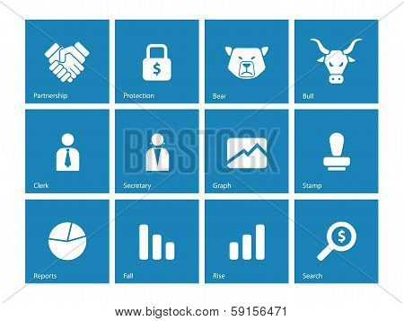 Finance icons on  background.