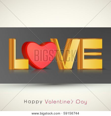 Happy Valentines Day celebration greeting card with golden text and red heart on abstract background.