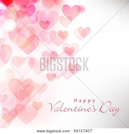 Happy Valentines Day celebration greeting card decorated with pink heart shape on grey background.