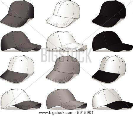Baseball Caps - white, black and Grey