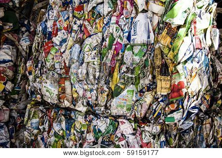 Recycle plant. Process of separation of garbage, plastics, cans, metals, organic waste recycle plant in spain