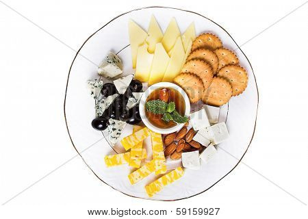 snack isolated. chees, nuts and  crackers