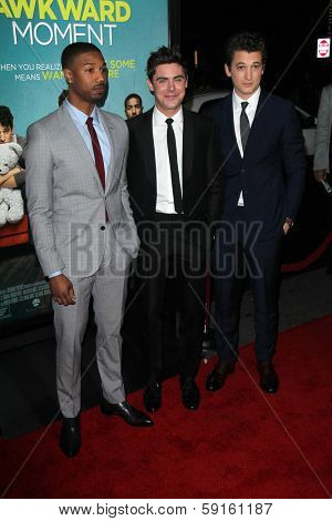 LOS ANGELES - JAN 27:  Michael B Jordan, Zac Efron, Miles Teller at the
