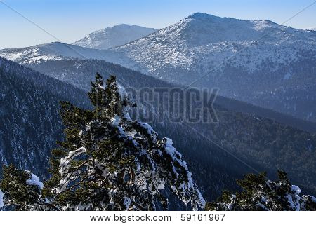 Snowy mountains and