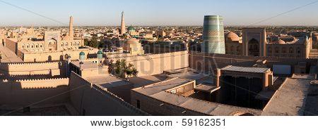 Panoramic View Of Khiva (chiva, Heva, Xiva, Chiwa, Khiveh) - Xorazm Province - Uzbekistan - Town On