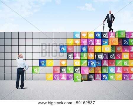 business people and smart icon wall