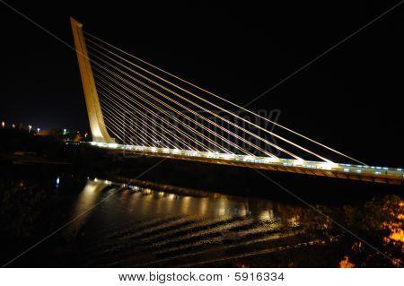 Modern Alamillo bridge over Guadalquivir river Seville Spain