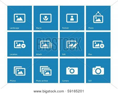 Photographs and Camera icons on blue background.