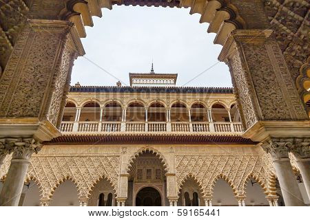 Courtyard Of Maidens Arches Alcazar Royal Palace Sevilleandalusia  Spain