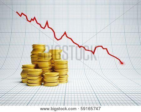losses at financial market, 3d render