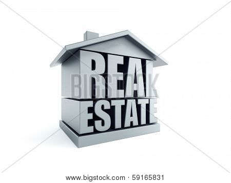 real estate symbol, isolated 3d rendering