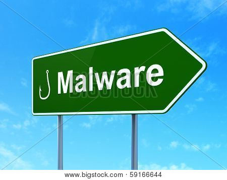 Security concept: Malware and Fishing Hook on road sign background