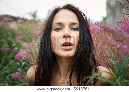 Seminude Beautiful Girl Among The Flowers