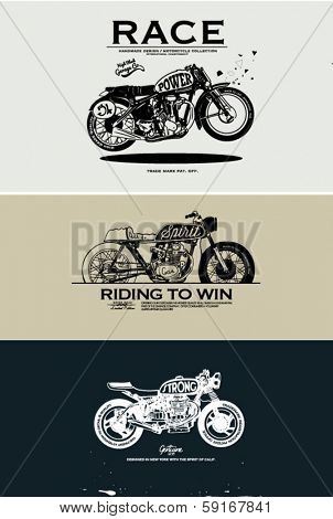 illustration sketch motorcycle with wording 2