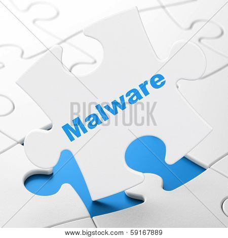 Protection concept: Malware on puzzle background