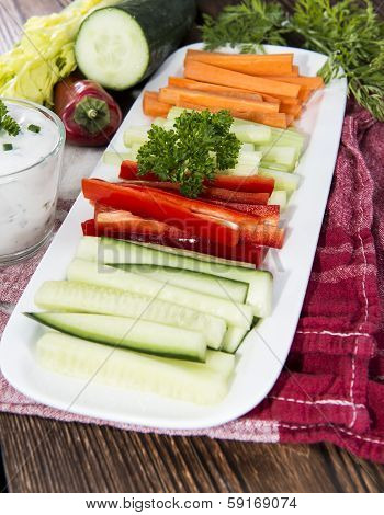 Different Vegetables With Dip