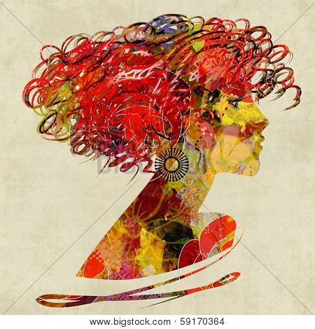 art colorful floral silhouette profile of beautiful girl with curly hair on sepia background