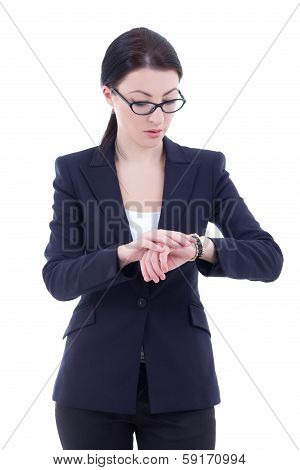 Young Businesswoman Checks Time On Her Wrist Watch Isolated On White