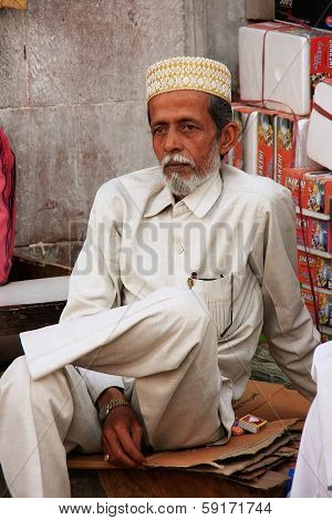JODHPUR, INDIA - FEBRUARY 11: An unidentified man sits at Sadar Market on February 11, 2011 in Jodhp